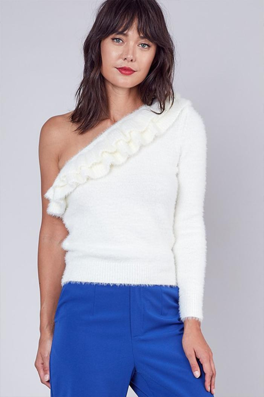 Do & Be One-Shoulder Ruffle Sweater - Front Cropped Image