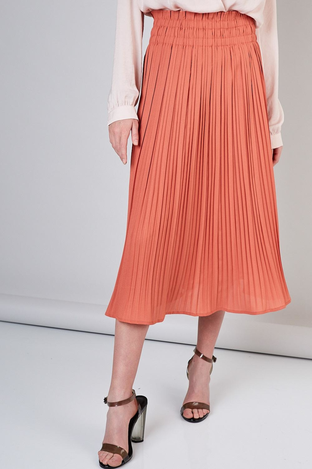 Do & Be Peach Pleated Skirt - Front Cropped Image