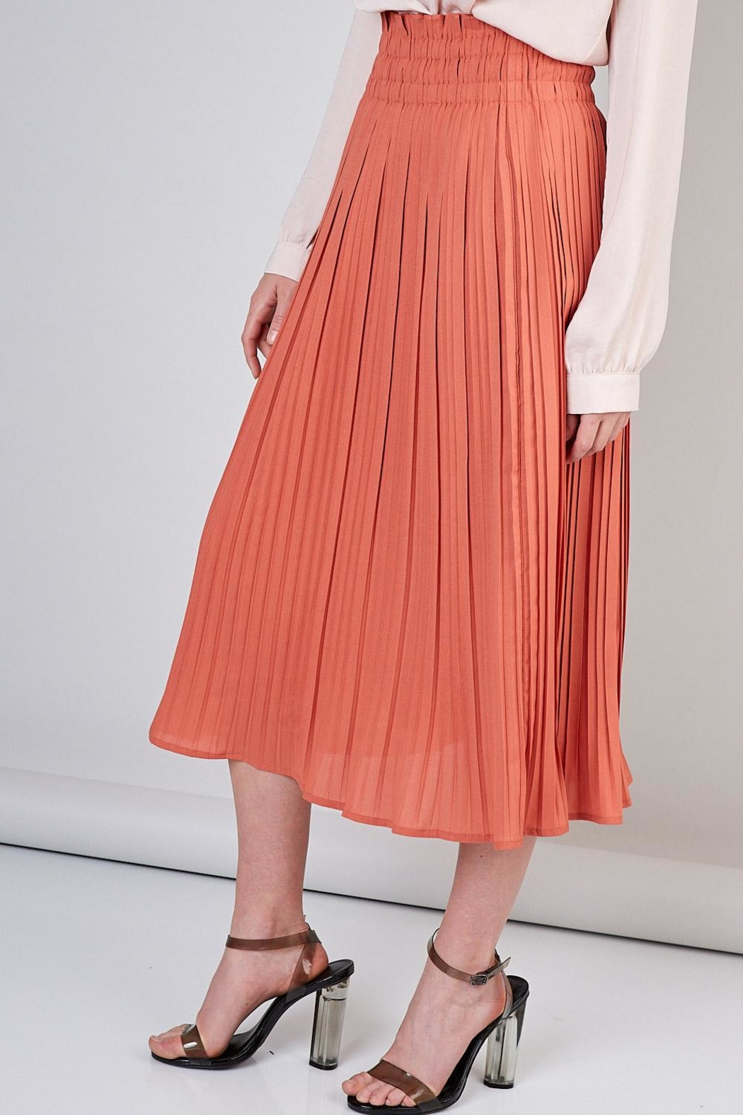 Do & Be Peach Pleated Skirt - Front Full Image