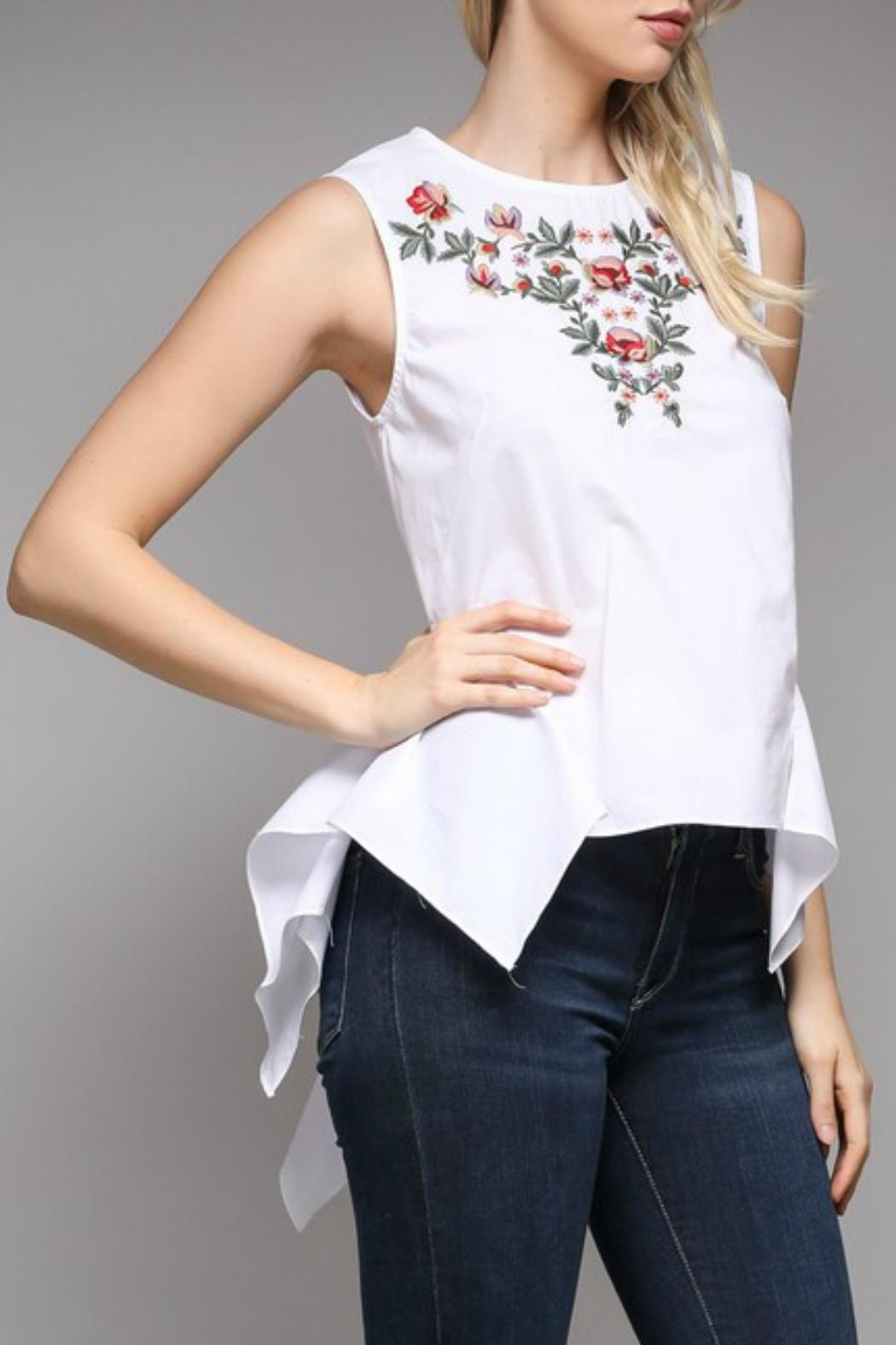 Do & Be Peplum Embroidered Top - Front Full Image