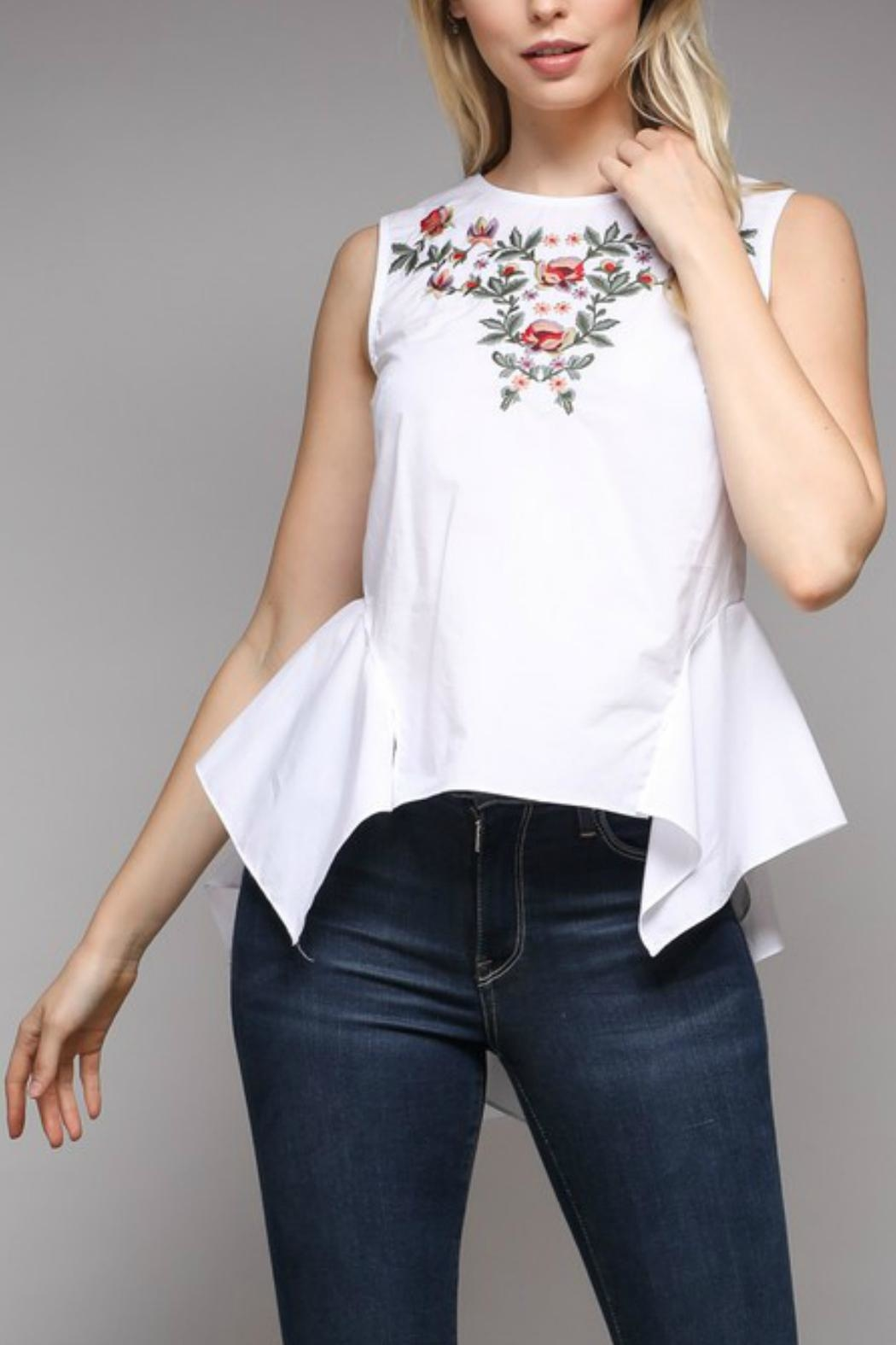 Do & Be Peplum Embroidered Top - Main Image