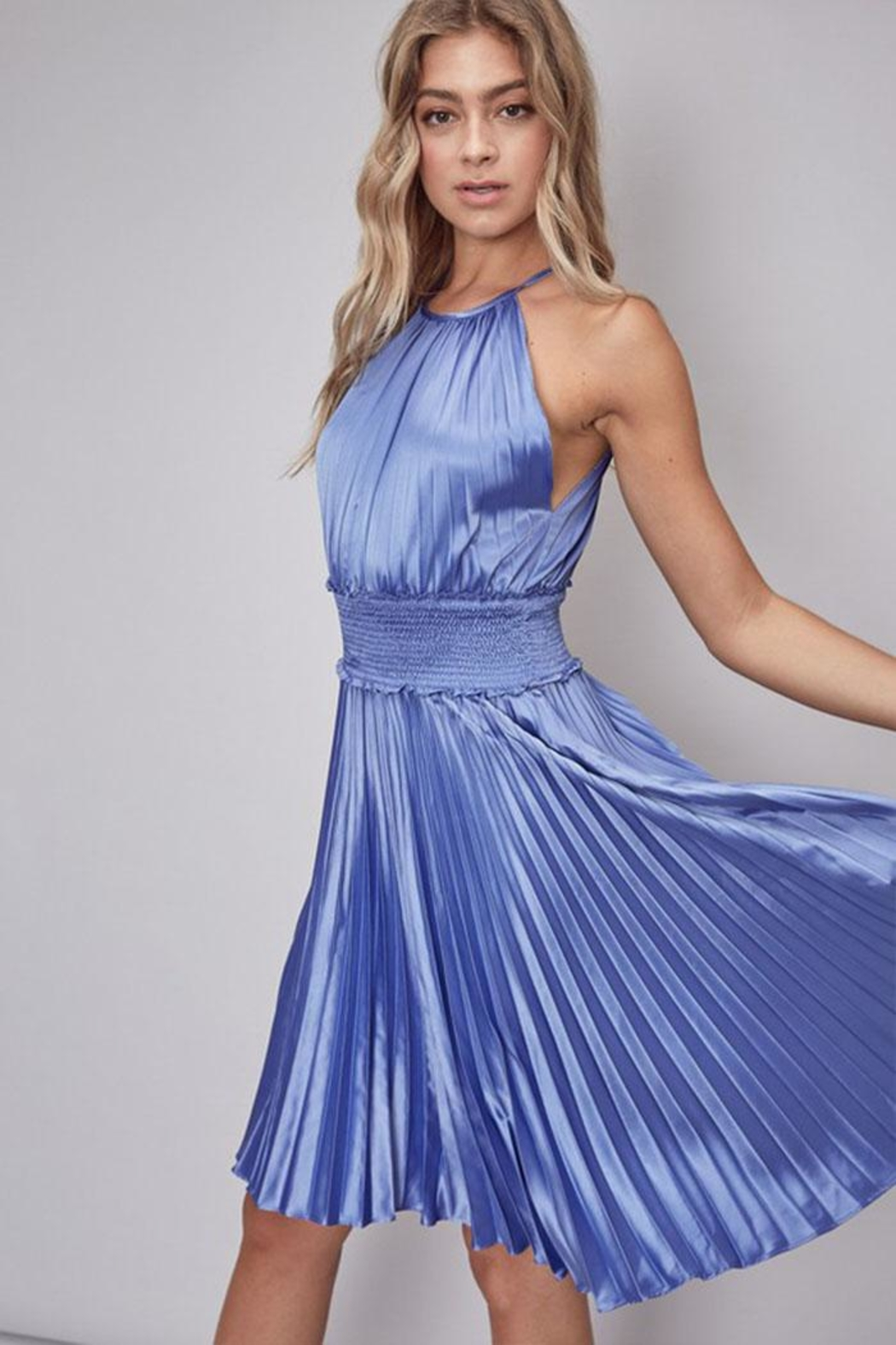 Do & Be Pleated Midi Dress - Front Full Image