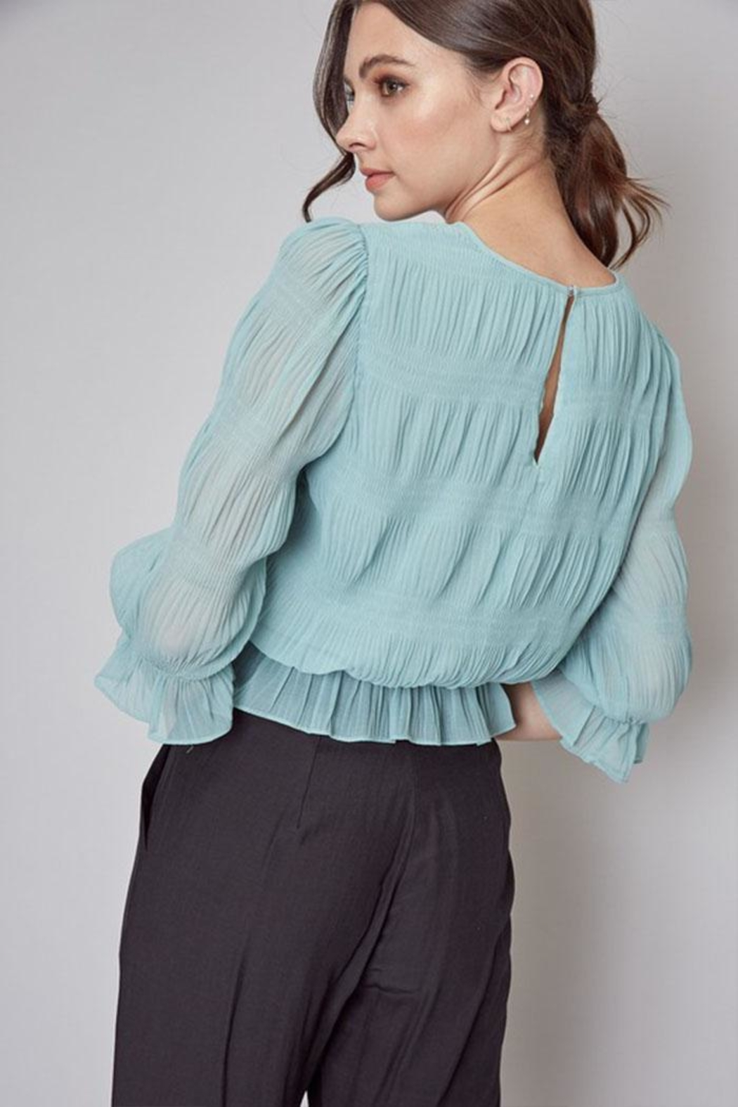 Do & Be Pleated Peplum Top - Back Cropped Image