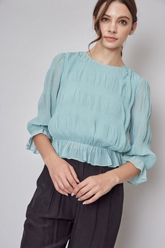 Do & Be Pleated Peplum Top - Product List Image