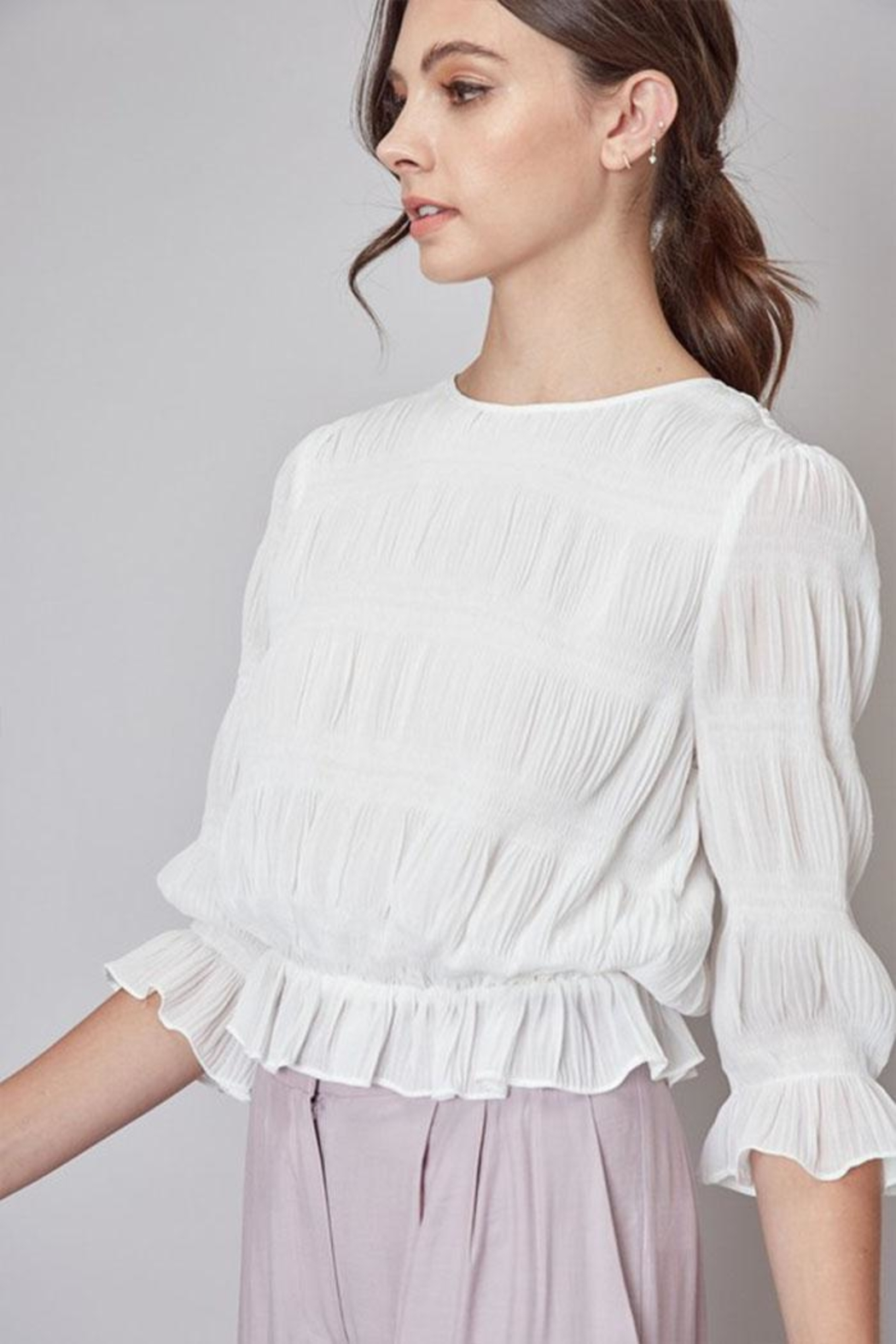 Do & Be Pleated Peplum Top - Front Full Image
