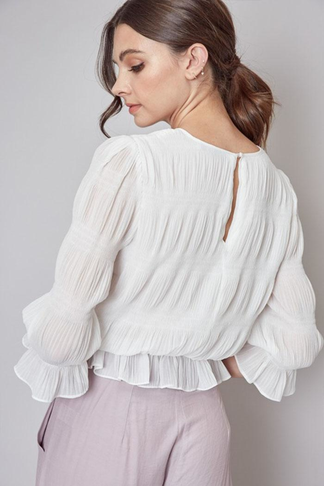 Do & Be Pleated Peplum Top - Side Cropped Image