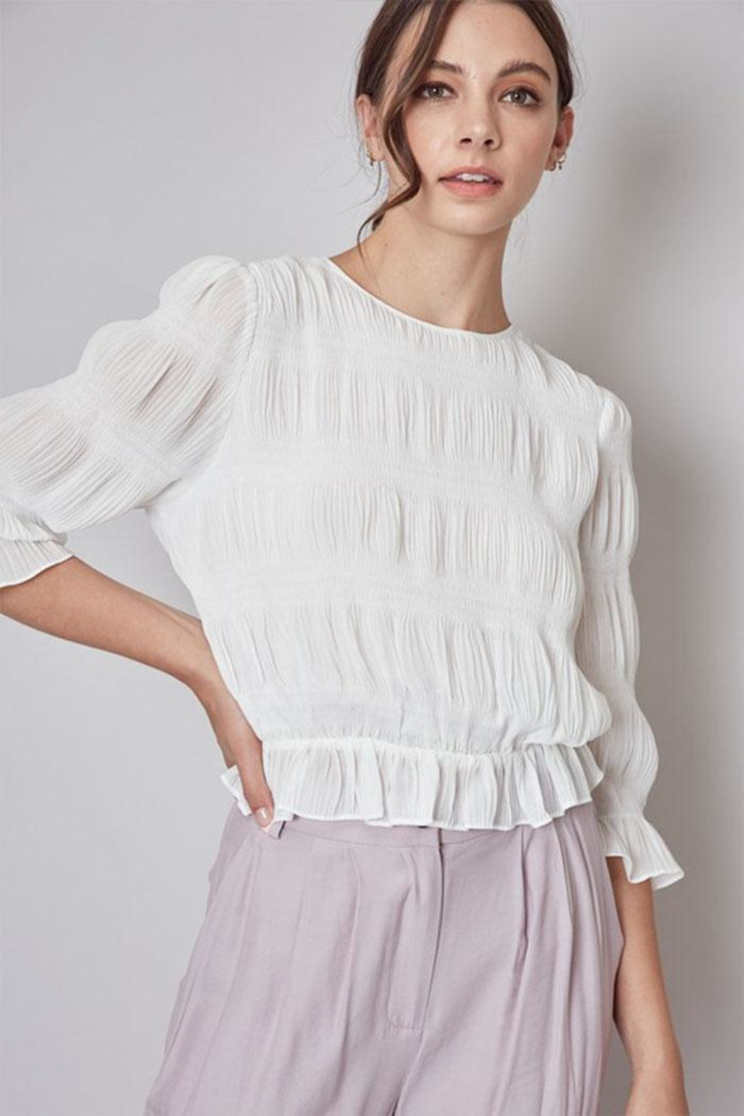 Do & Be Pleated Peplum Top - Front Cropped Image