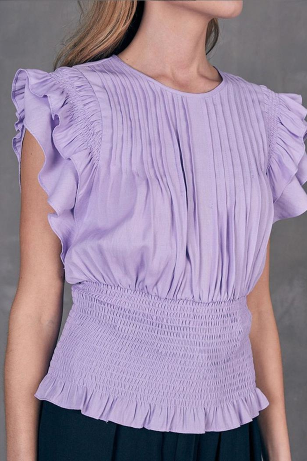 Do & Be Pleated Smocked Top - Back Cropped Image