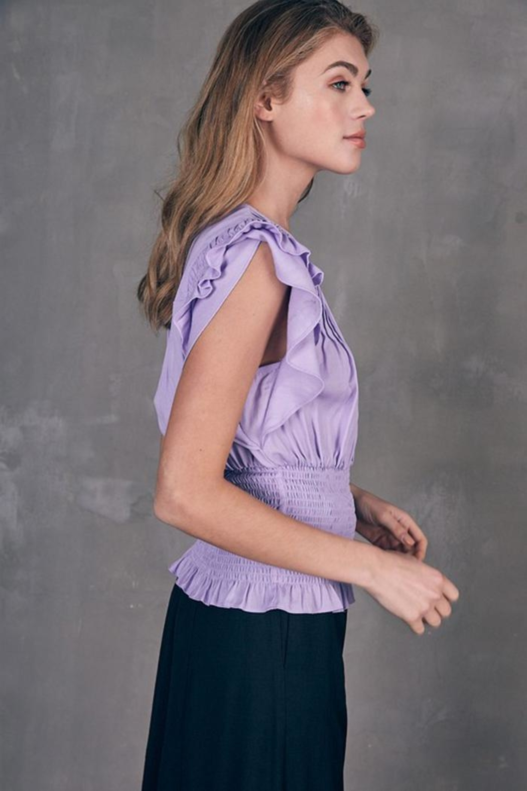 Do & Be Pleated Smocked Top - Front Full Image