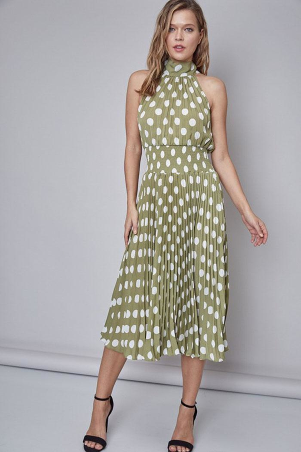 Do & Be Polka-Dot Midi Dress - Front Full Image