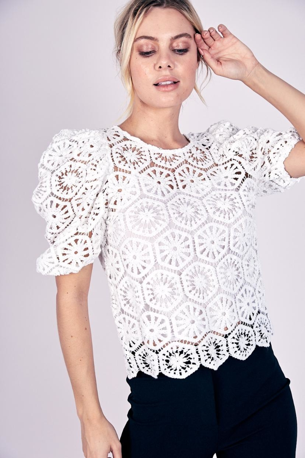 Do & Be Puff-Sleeve Crochet Top - Main Image