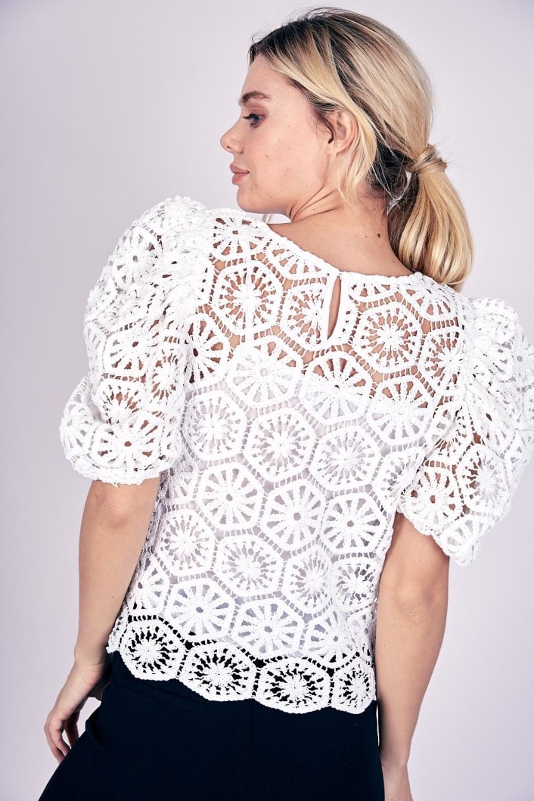 Do & Be Puff-Sleeve Crochet Top - Front Full Image