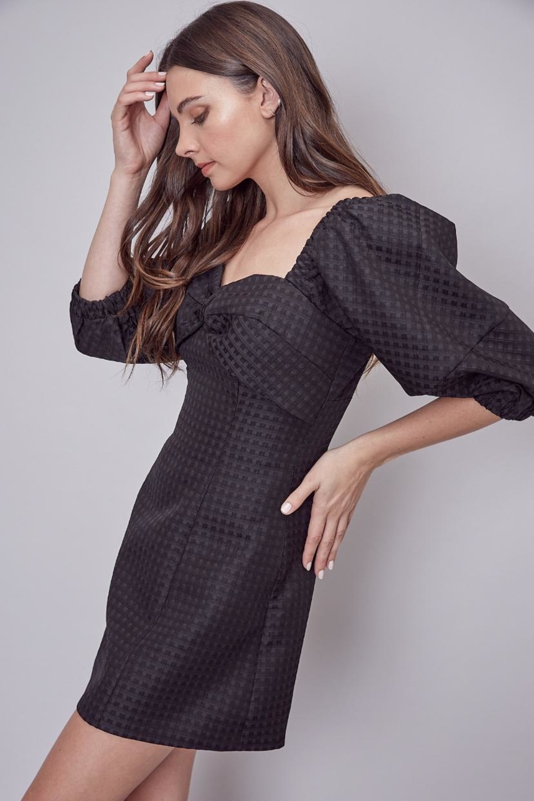 Do & Be Puff Sleeve Dress - Side Cropped Image