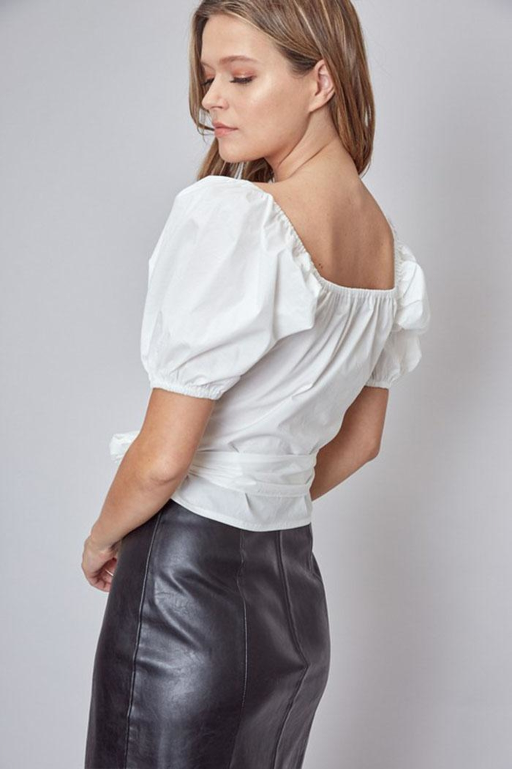 Do & Be Puff-Sleeve Wrap Top - Side Cropped Image