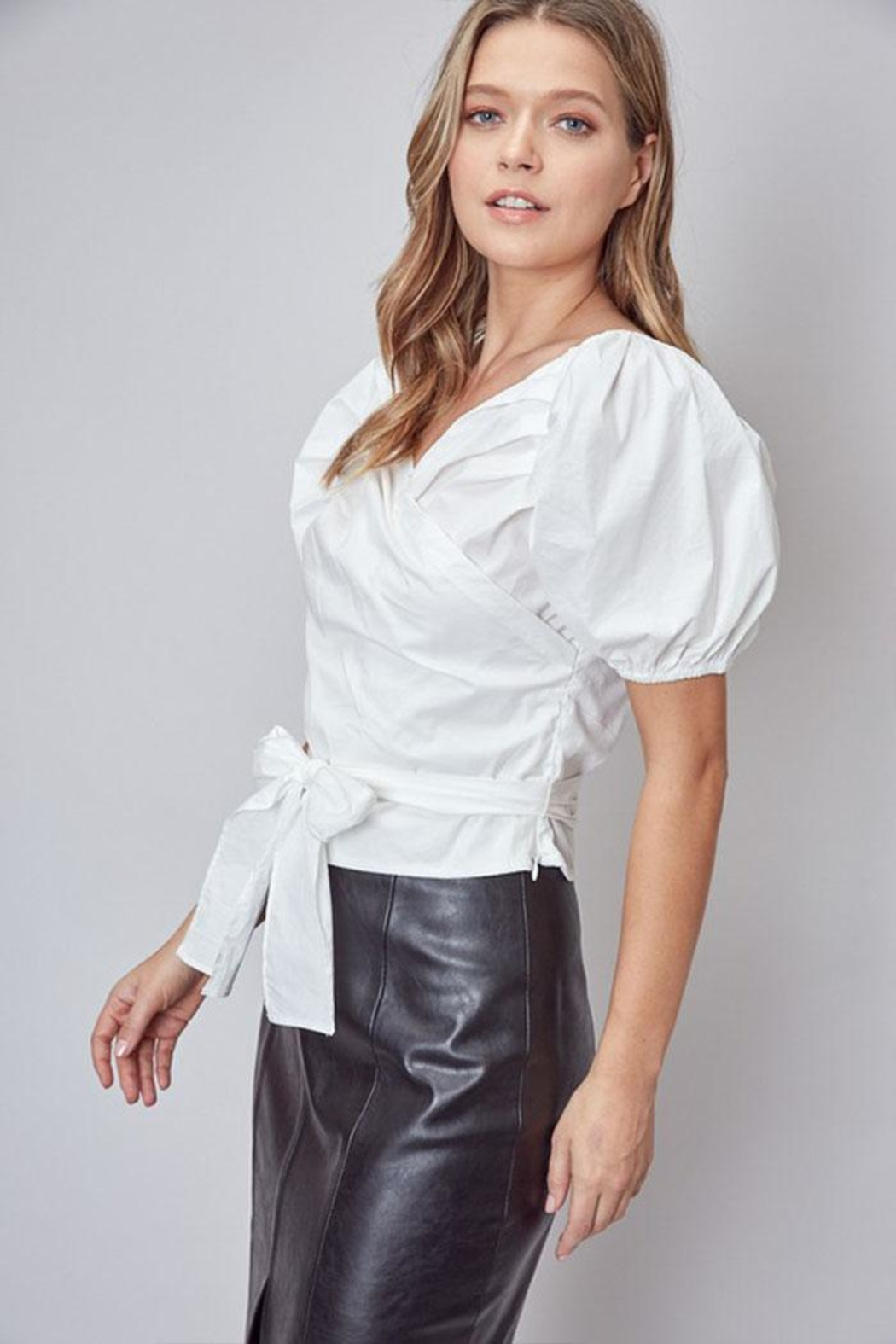 Do & Be Puff-Sleeve Wrap Top - Front Full Image
