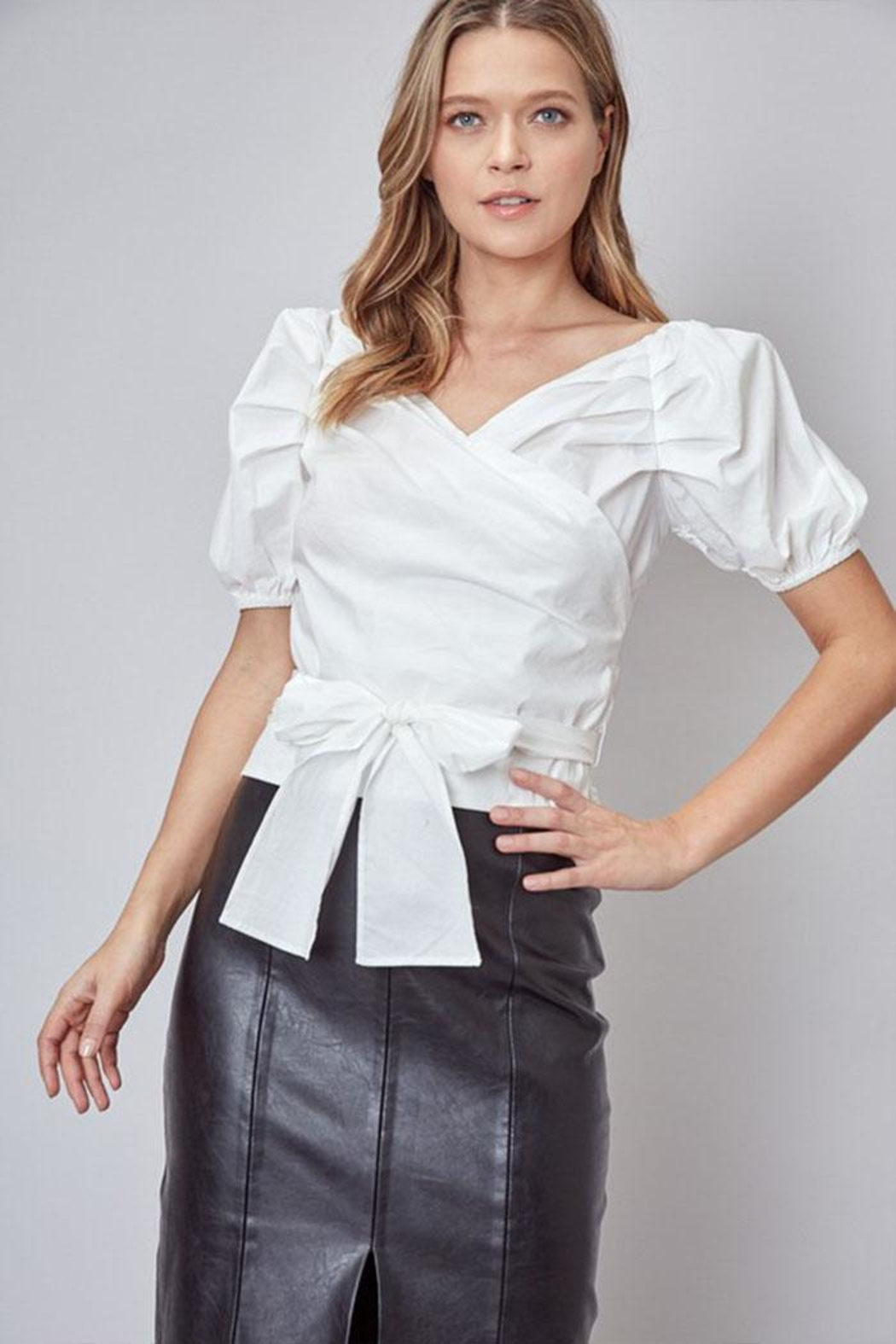 Do & Be Puff-Sleeve Wrap Top - Front Cropped Image