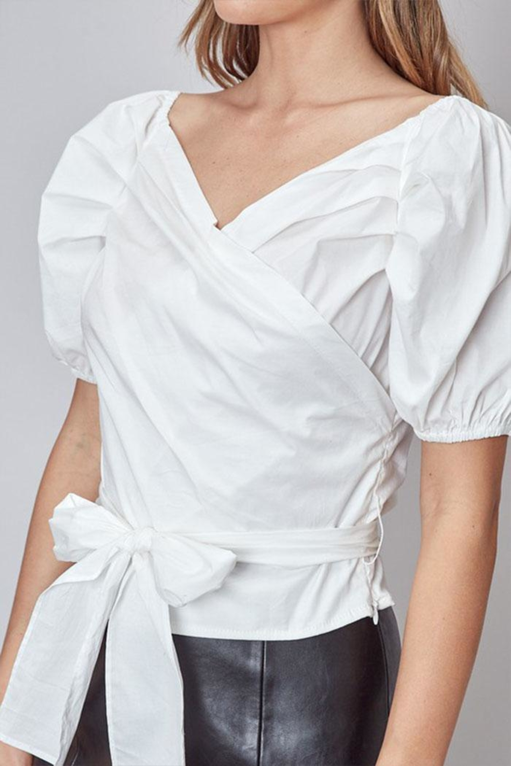 Do & Be Puff-Sleeve Wrap Top - Back Cropped Image
