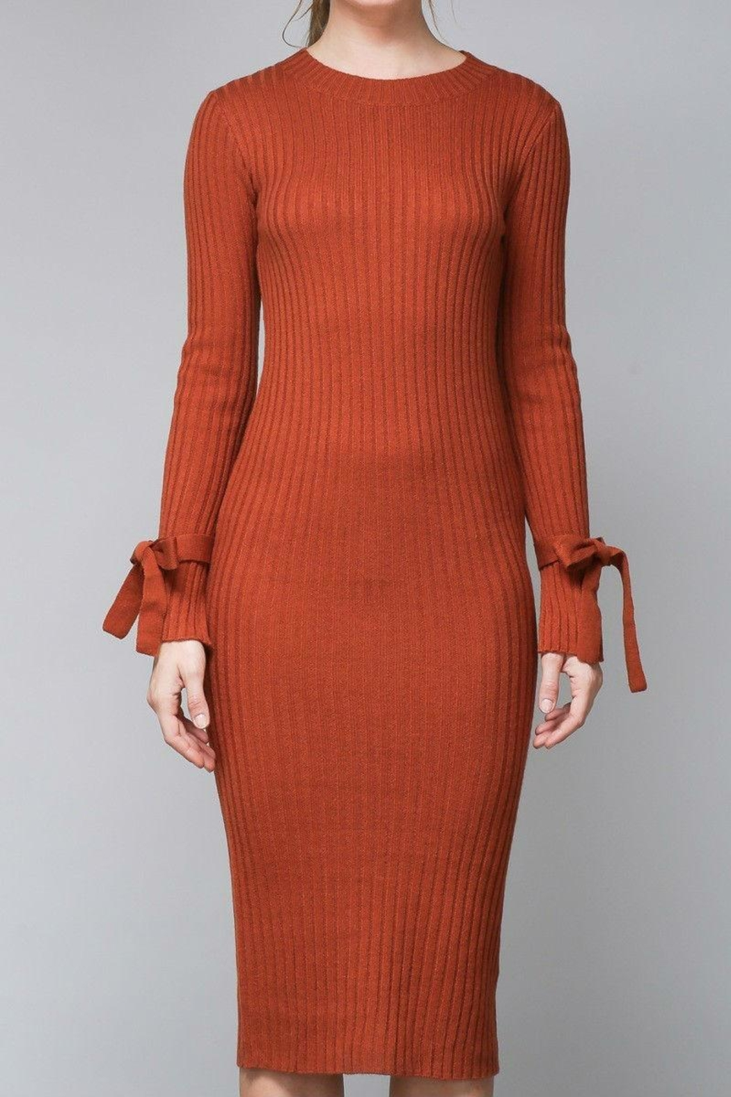 Do & Be Pumpkin Sweater Dress - Side Cropped Image