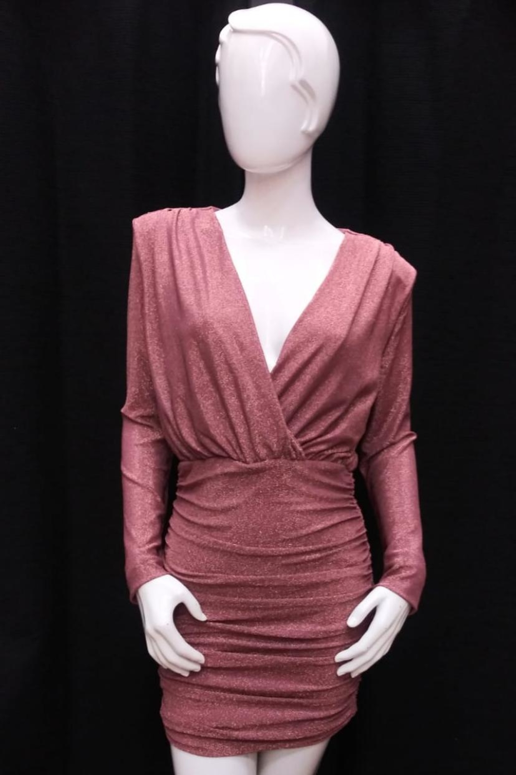Do & Be Rose-Gold Shirring Dress - Front Cropped Image