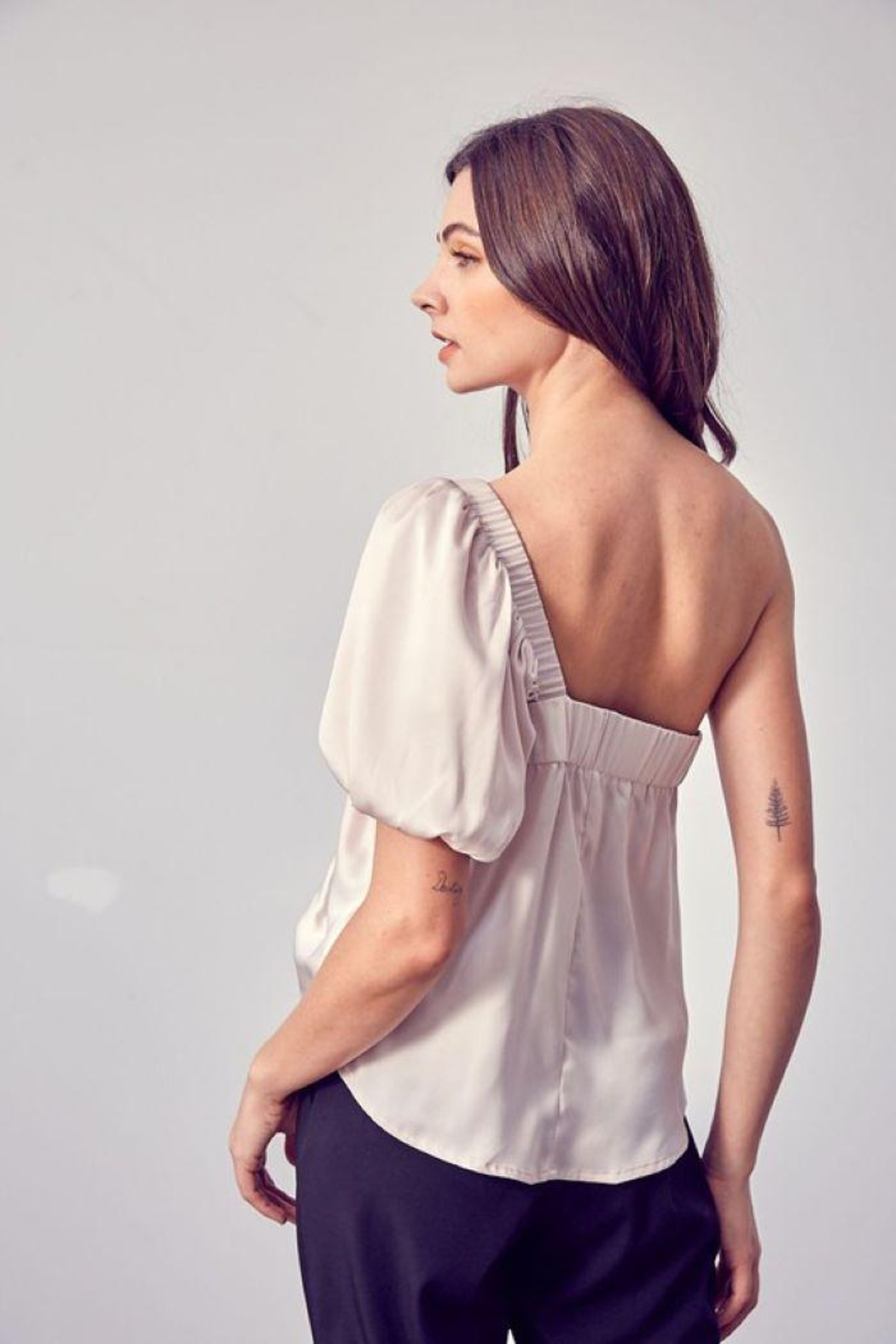 Do & Be Ruched One Shoulder Top - Back Cropped Image