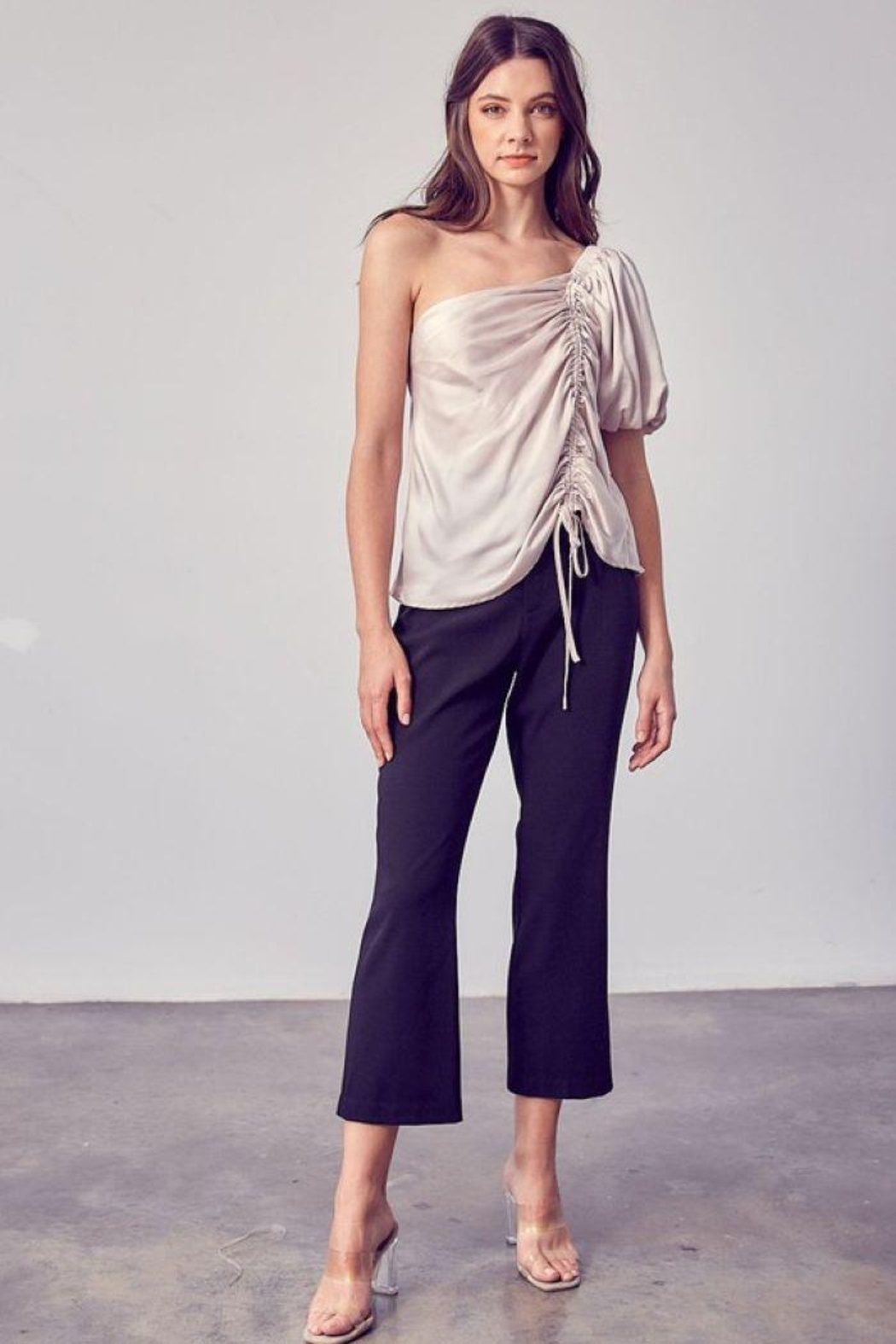 Do & Be Ruched One Shoulder Top - Side Cropped Image