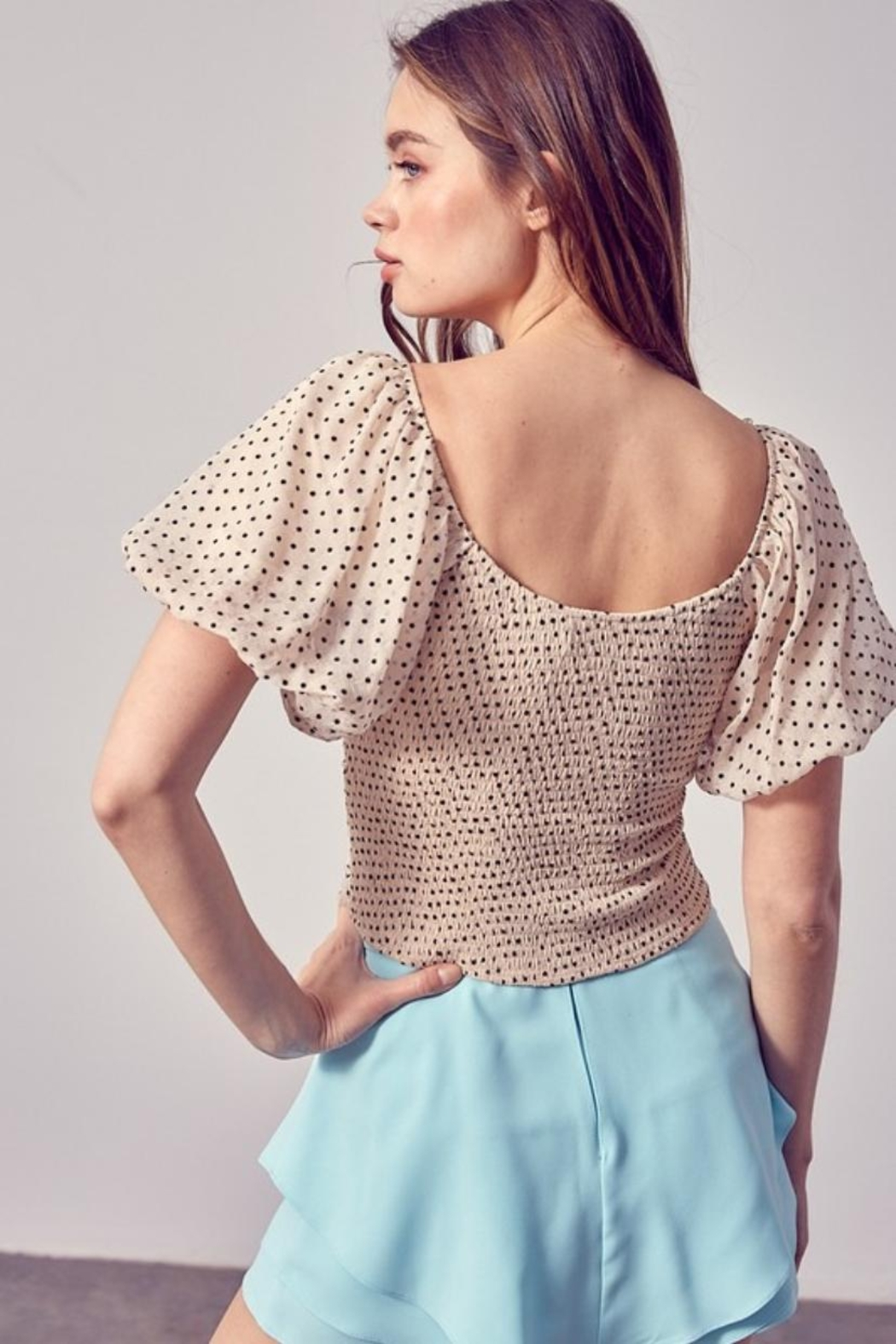 Do & Be Ruched Puff-Sleeve Top - Front Full Image