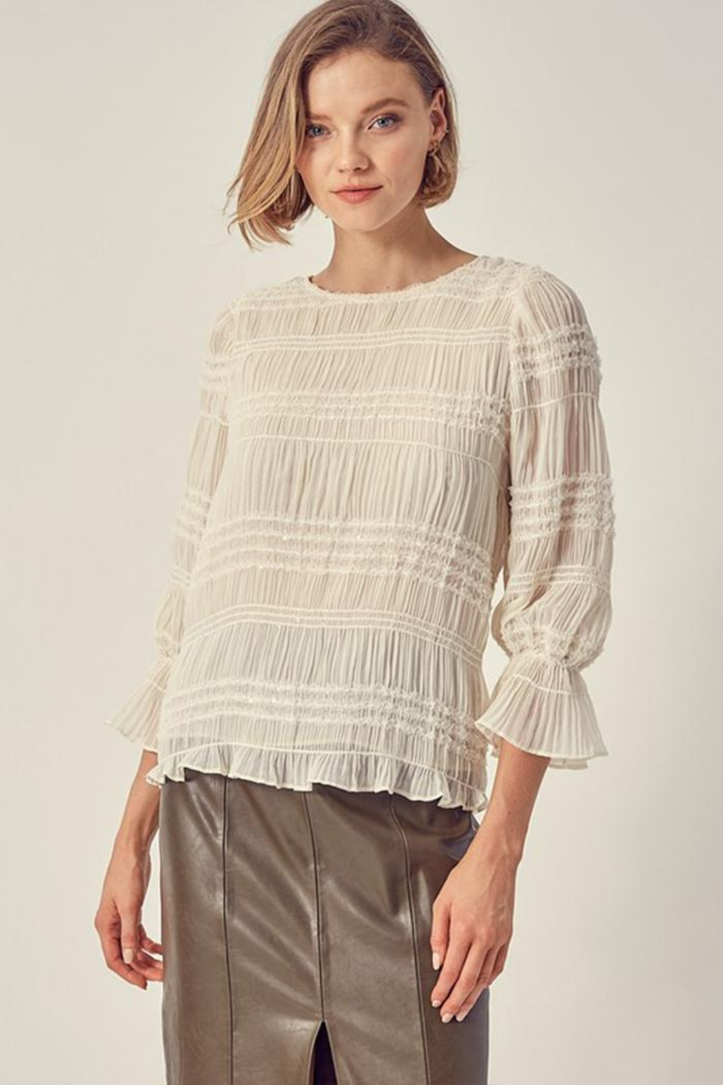 Do & Be Ruched Sequin Top - Back Cropped Image