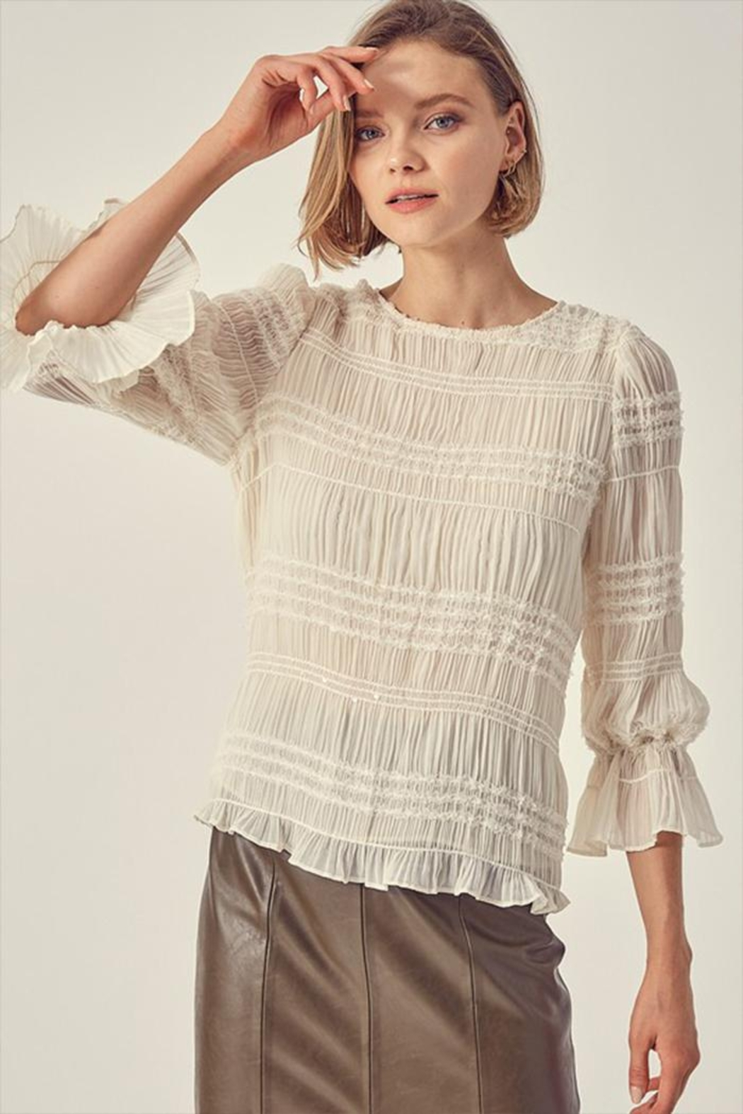 Do & Be Ruched Sequin Top - Main Image