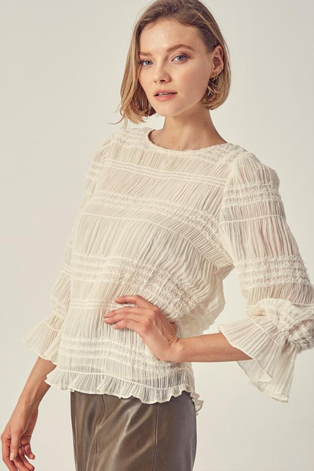 Do & Be Ruched Sequin Top - Front Full Image