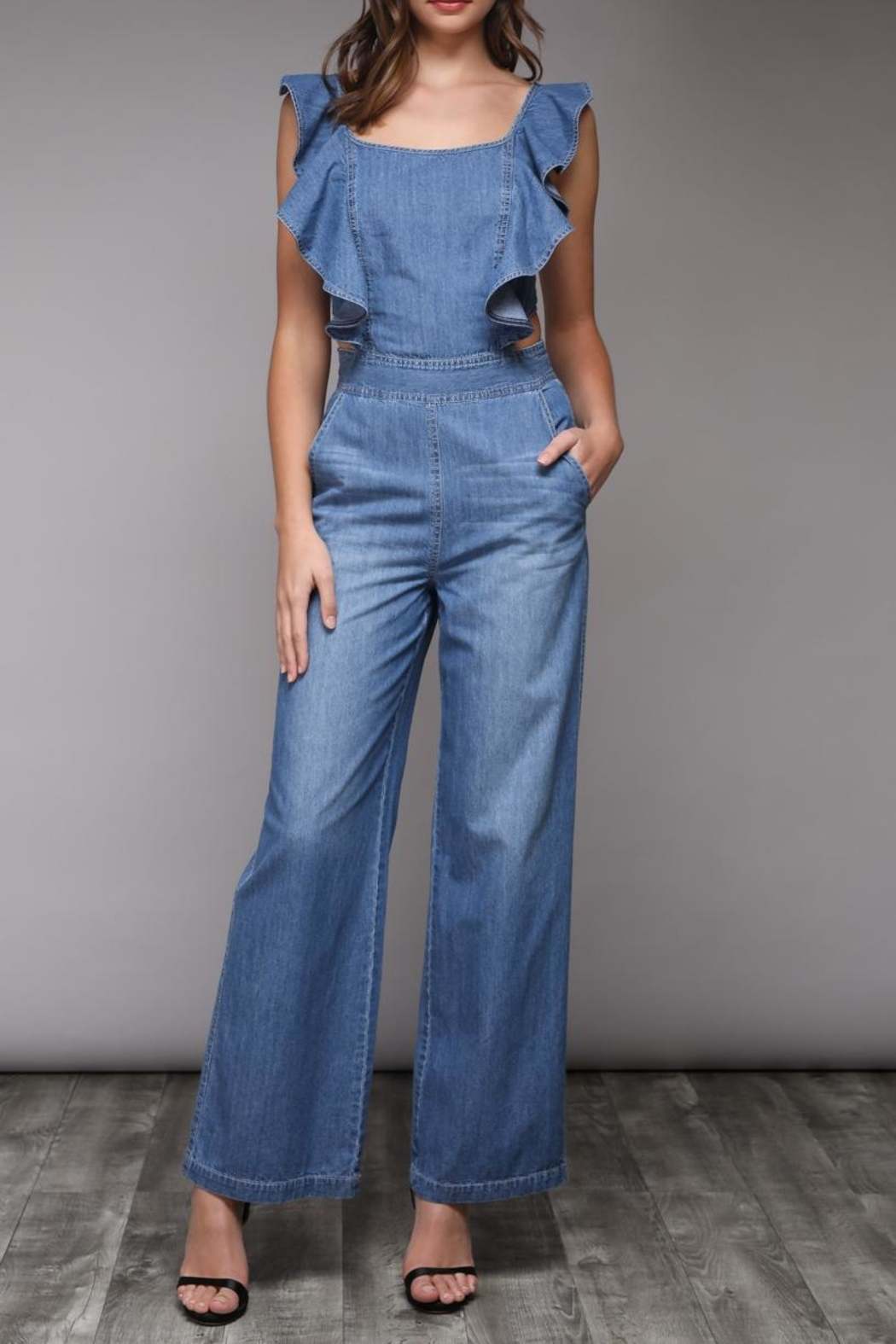 Do & Be Ruffle Denim Jumpsuit - Front Cropped Image