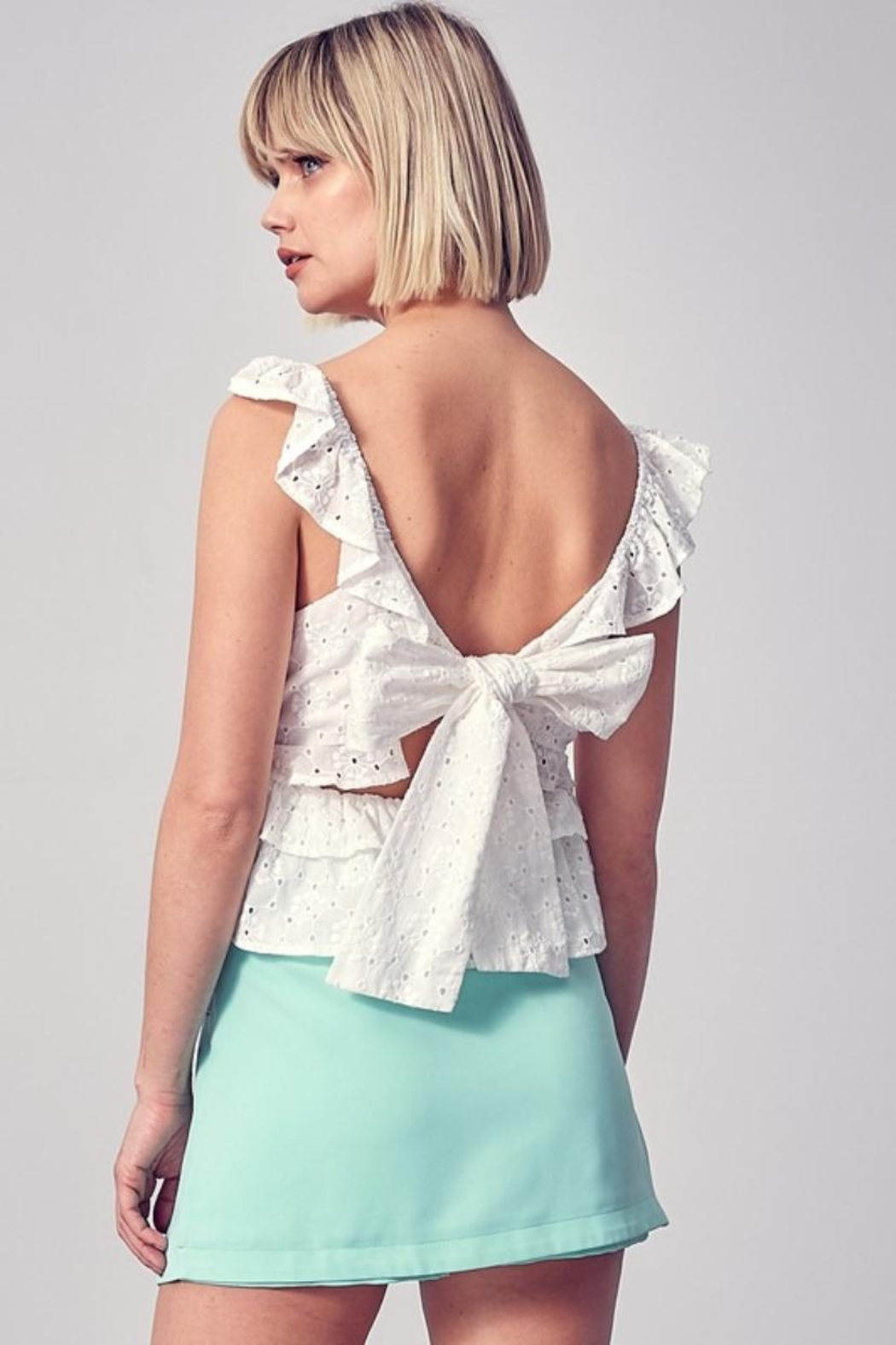 Do & Be Ruffle Eyelet Top - Front Full Image