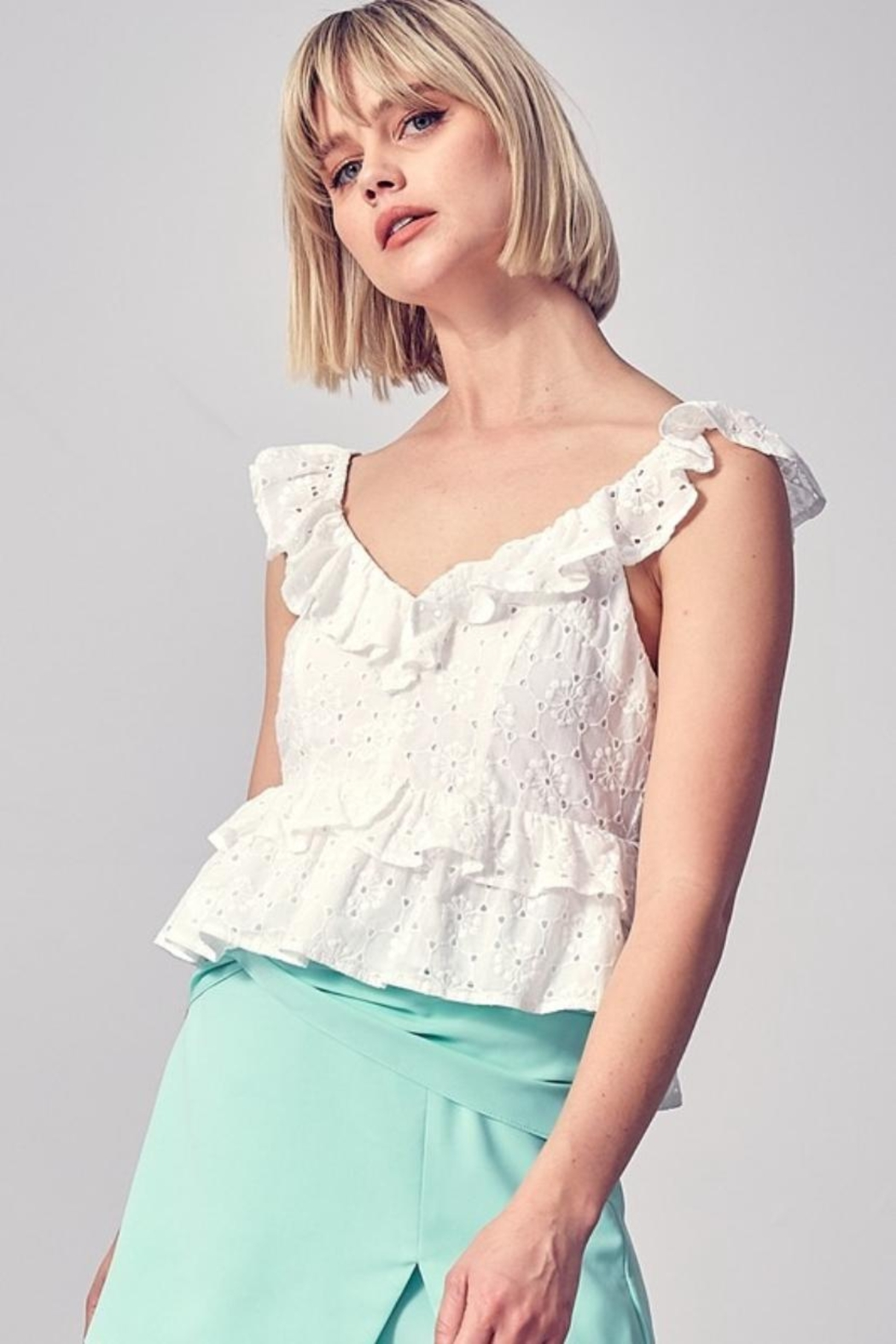 Do & Be Ruffle Eyelet Top - Front Cropped Image