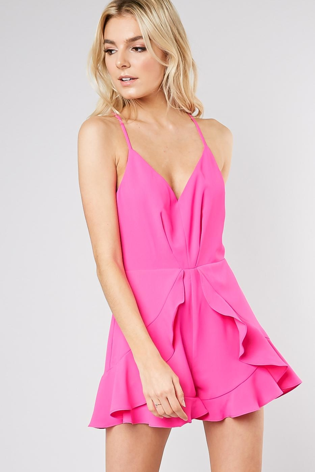 Do & Be Ruffle Front Romper - Front Cropped Image