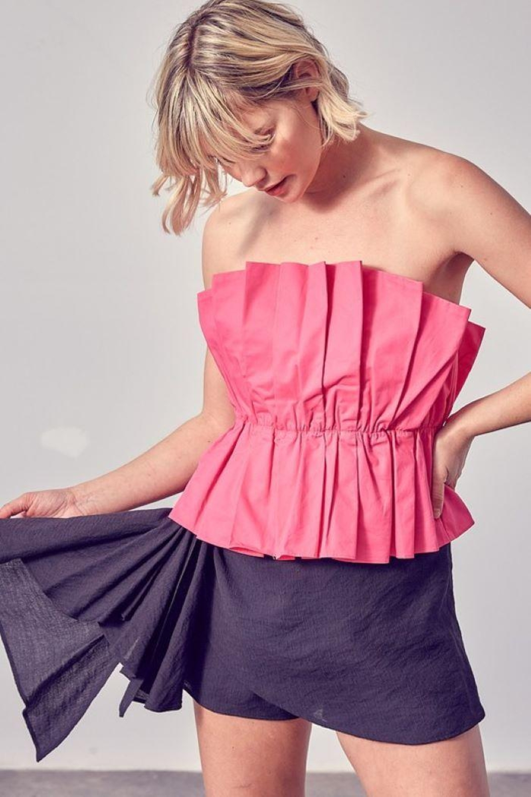Do & Be Ruffle Open Shoulder Top - Front Cropped Image