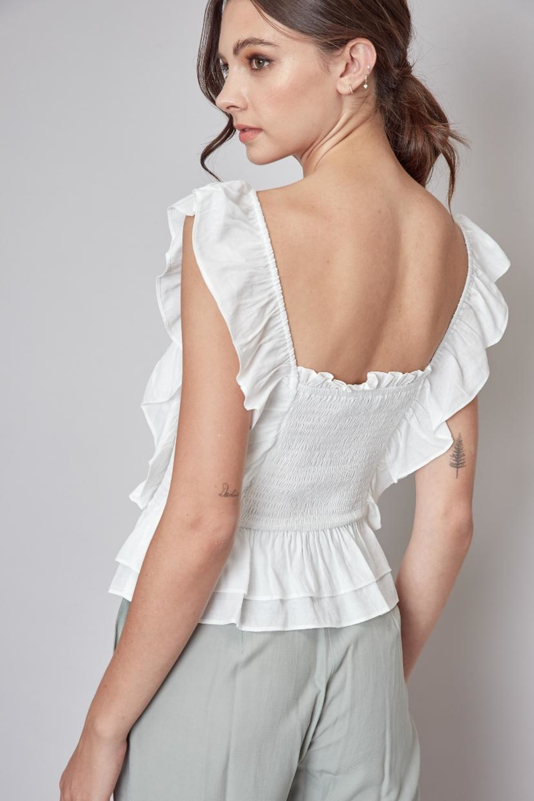Do & Be Ruffle Smocking Top - Side Cropped Image