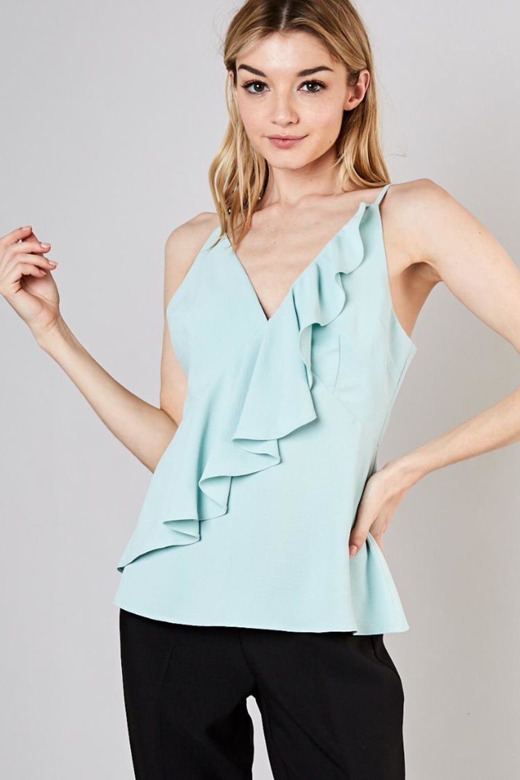 Do & Be Sage Ruffled Top - Front Cropped Image