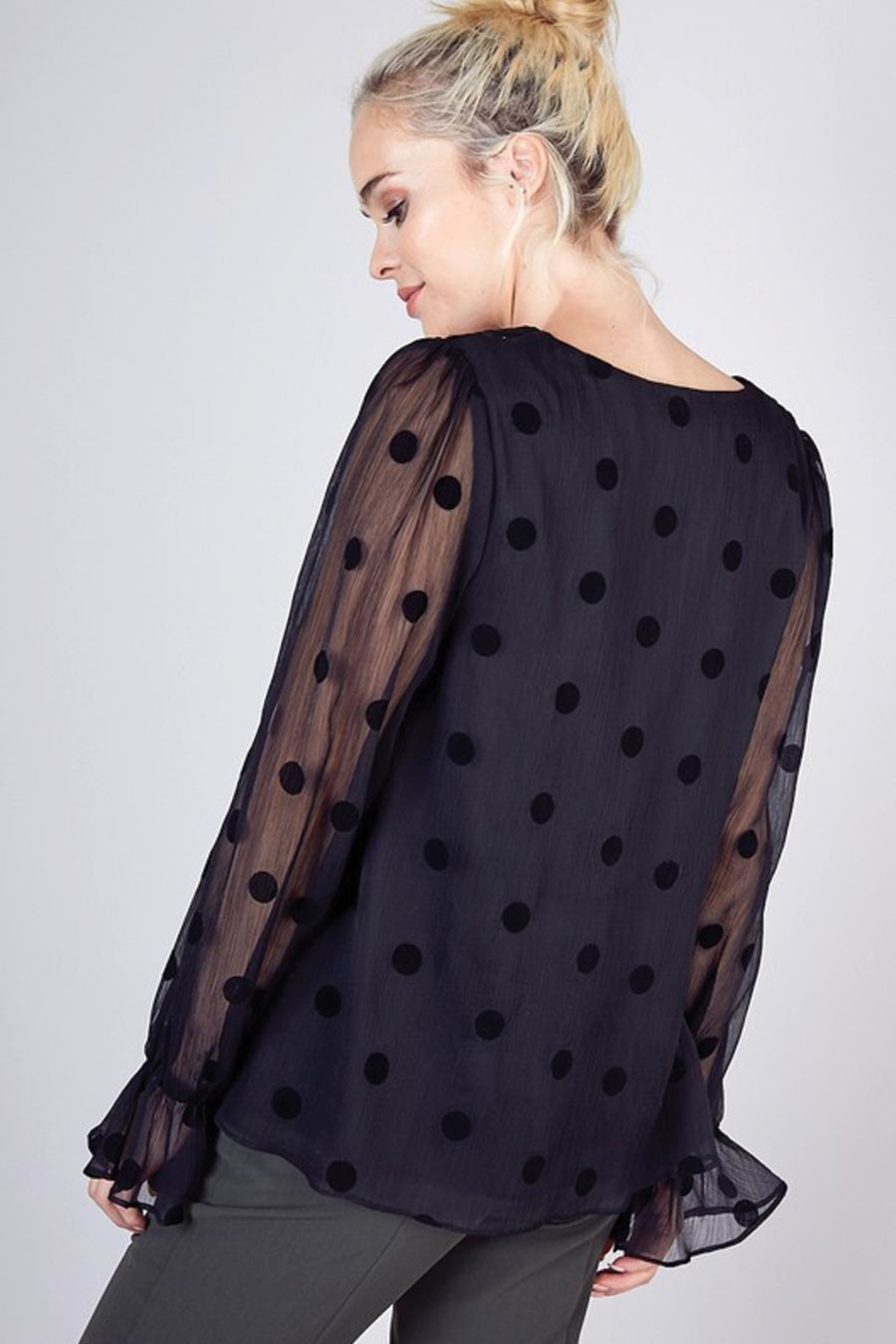 Do & Be Sheer Top With Ruffle Detail - Side Cropped Image