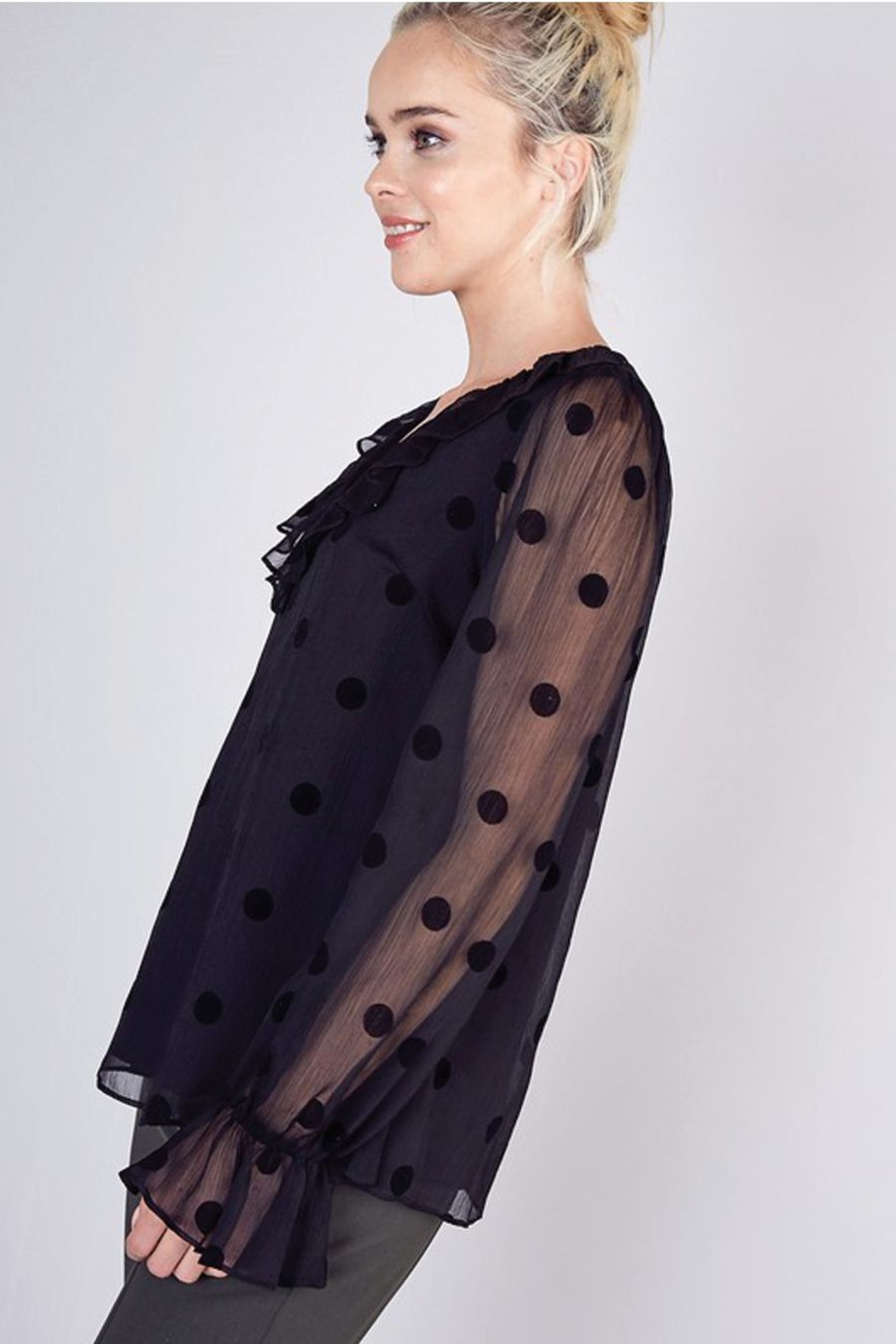 Do & Be Sheer Top With Ruffle Detail - Back Cropped Image