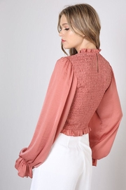 Do & Be Smocked Shirred Blouse - Back cropped