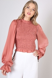 Do & Be Smocked Shirred Blouse - Front cropped