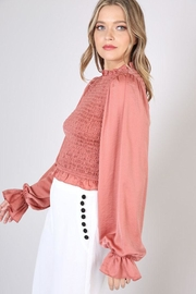 Do & Be Smocked Shirred Blouse - Side cropped
