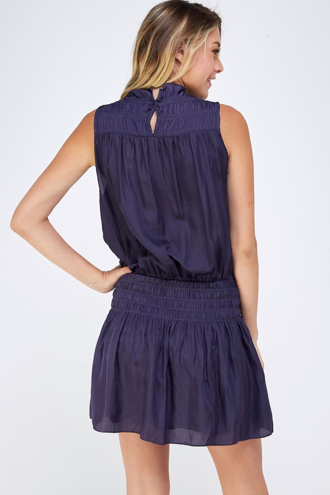 Do & Be Smocked Sleeveless Dress - Back Cropped Image