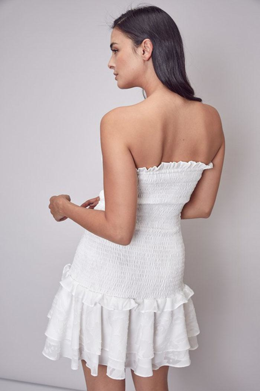 Do & Be Smocked Strapless Dress - Back Cropped Image