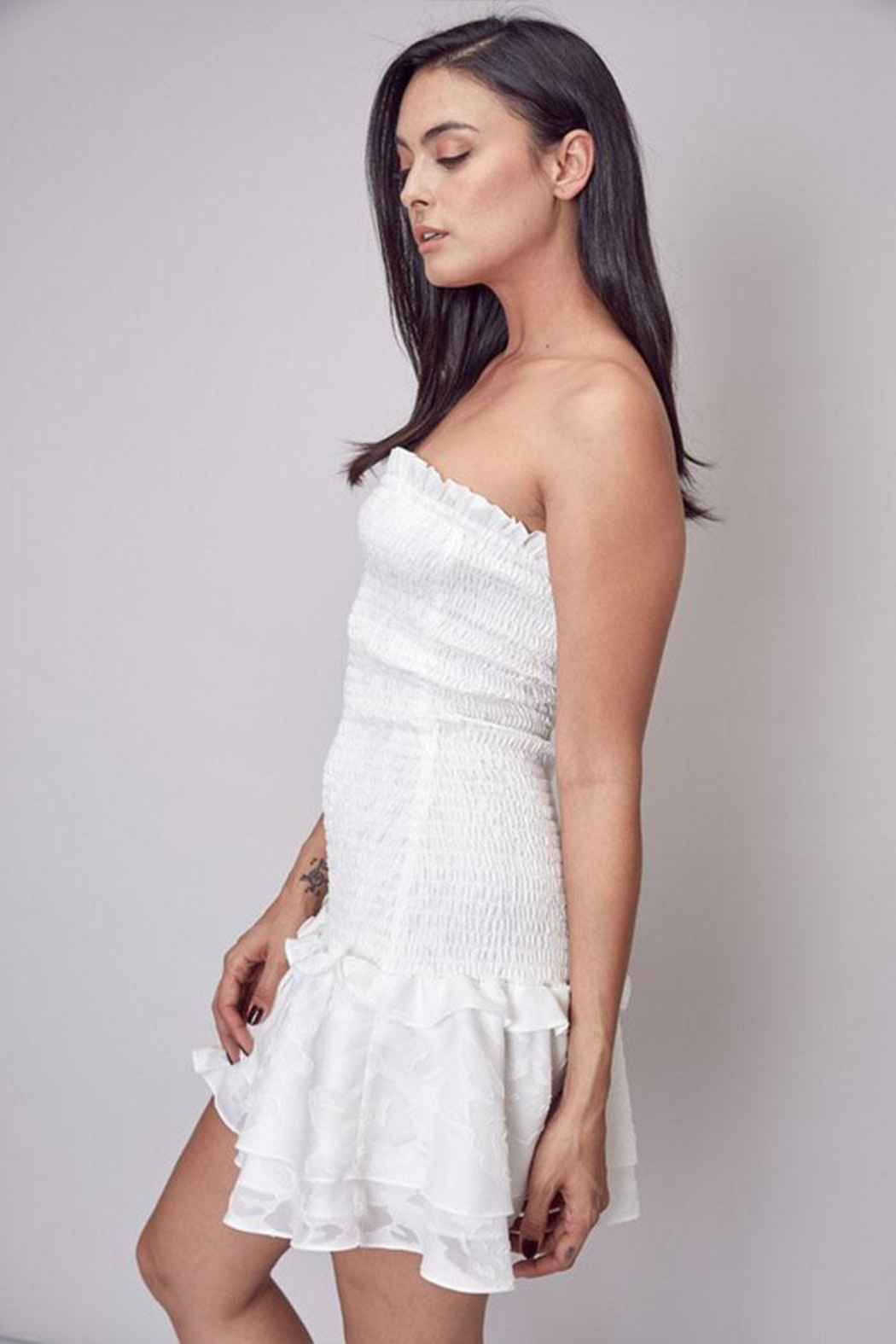 Do & Be Smocked Strapless Dress - Side Cropped Image