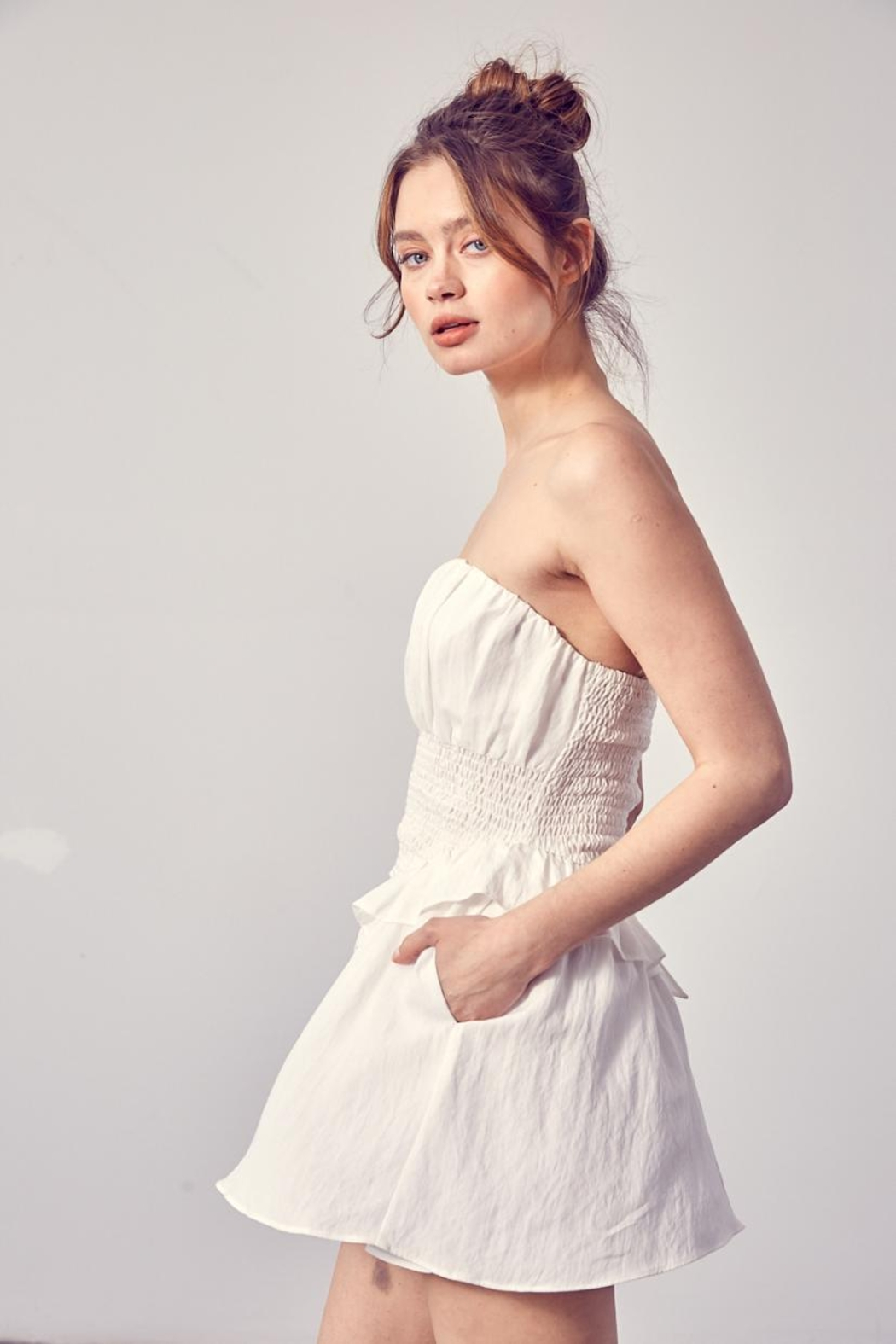 Do & Be Smocked Strapless Romper - Side Cropped Image