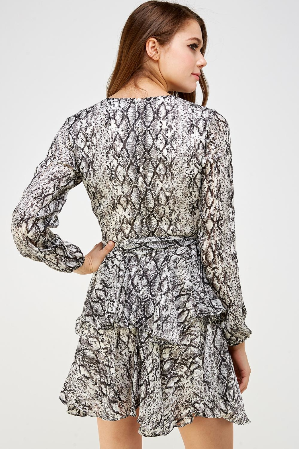 Do & Be Snake Ruffle Dress - Back Cropped Image
