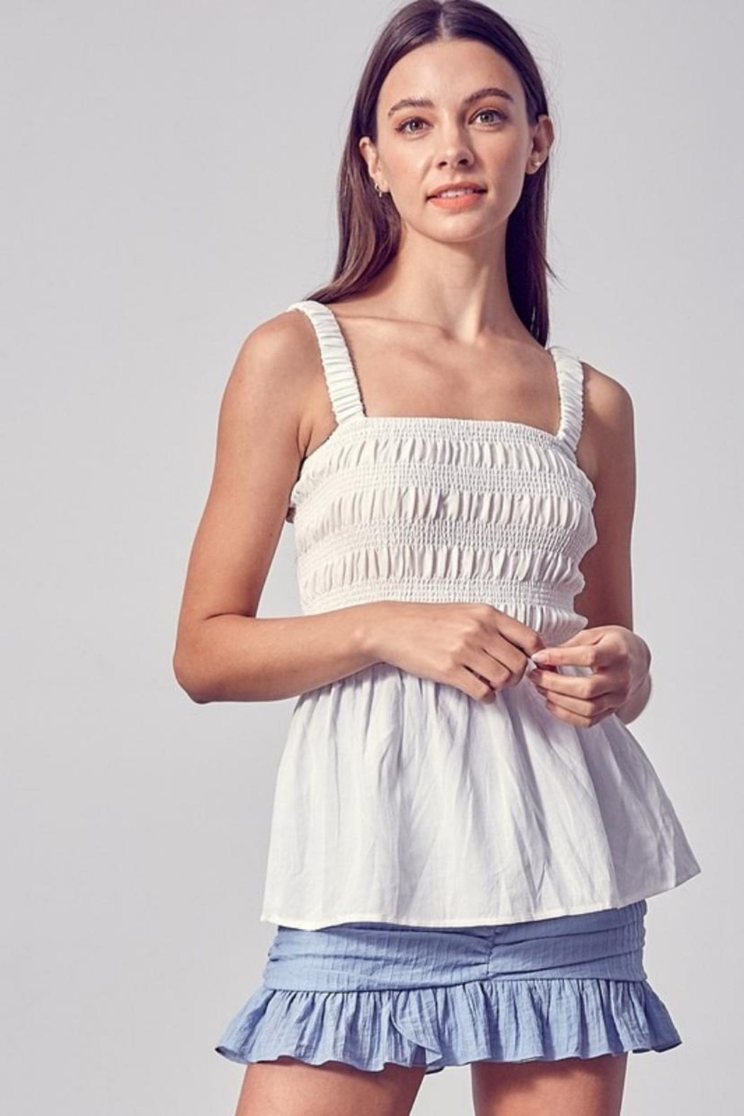 Do & Be Square-Neck Smocked Top - Main Image