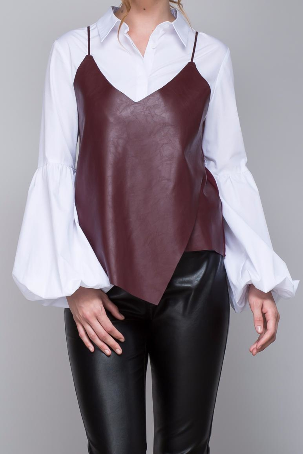 Do & Be Strappy Leather Top - Front Cropped Image