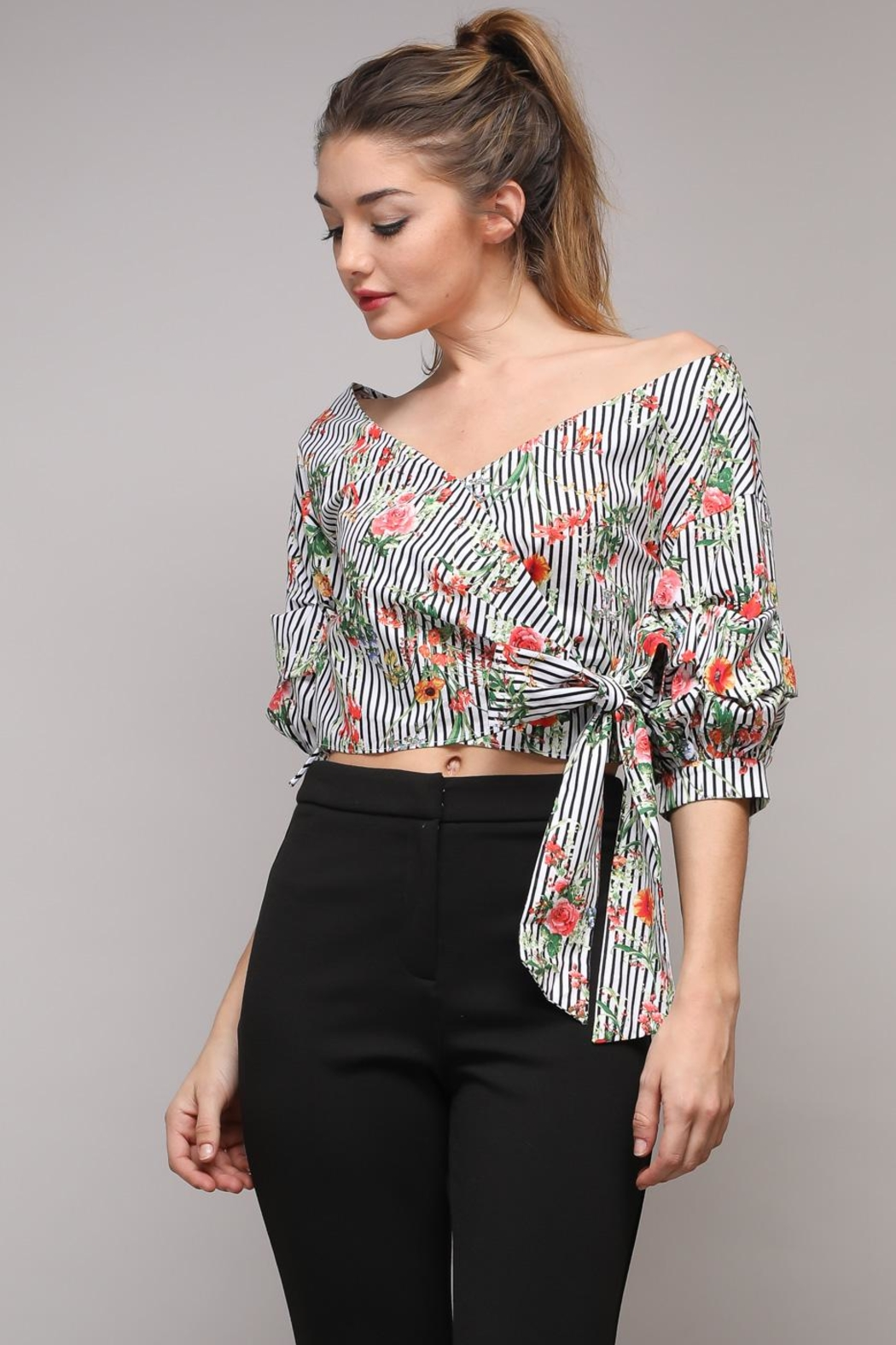 Do & Be Stripe Tie Top - Front Cropped Image