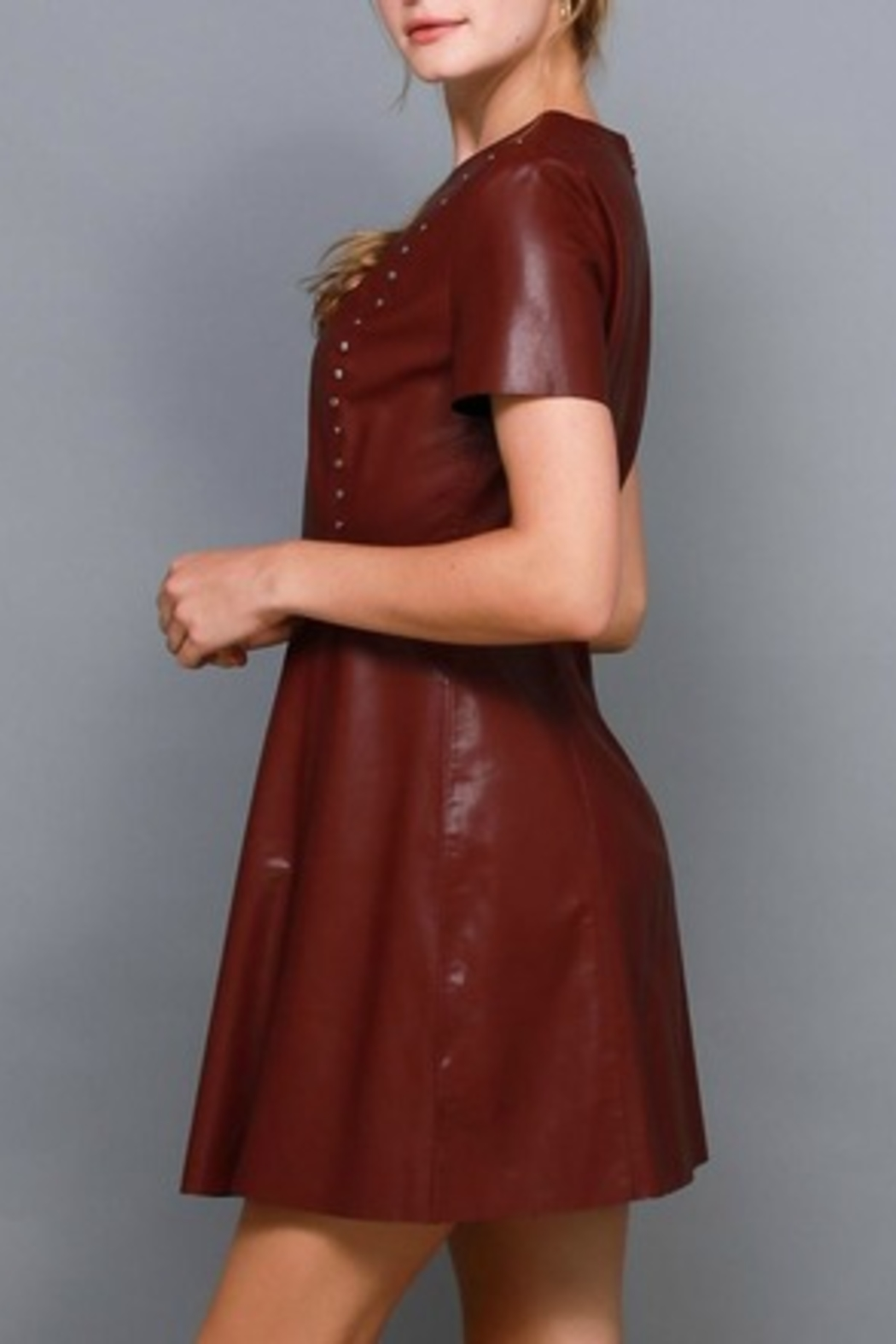 Do & Be Studded Leather Dress - Front Full Image